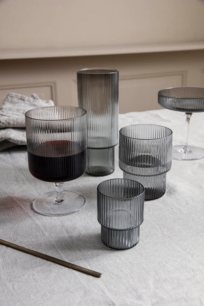 Ferm Living Ripple Wine Glasses Smoked Grey(Set of 2)