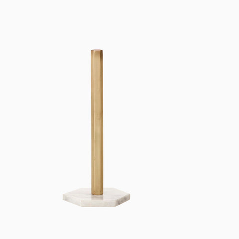 Ferm Living Hexagon Kitchen Towel Stand (Marble & Brass)