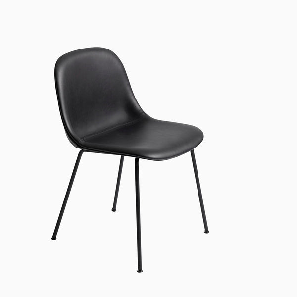 Muuto Fiber Side Chair Tube Base Black Leather