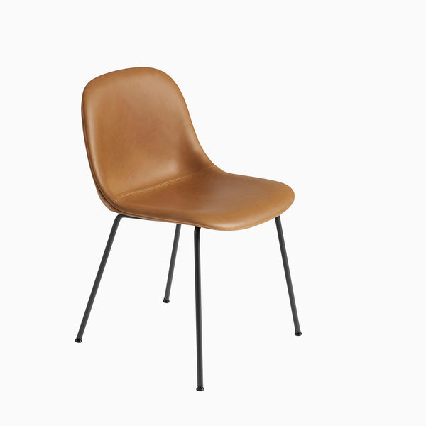 Muuto Fiber Side Chair Tube Base Cognac Leather