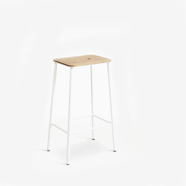 Frama Adam Stool H65cm Oak Seat White