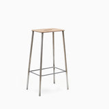 Frama Adam Stool 76cm Leather Raw Steel