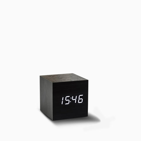 Gingko Cube Clock Clock - Black