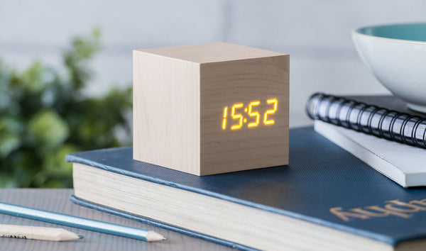 Gingko Cube Click Clock Maple