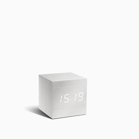 Gingko Cube Clock Clock White