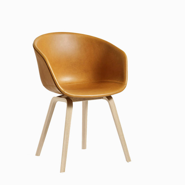 HAY About a Chair Matt Lacquer Silk Leather Cognac