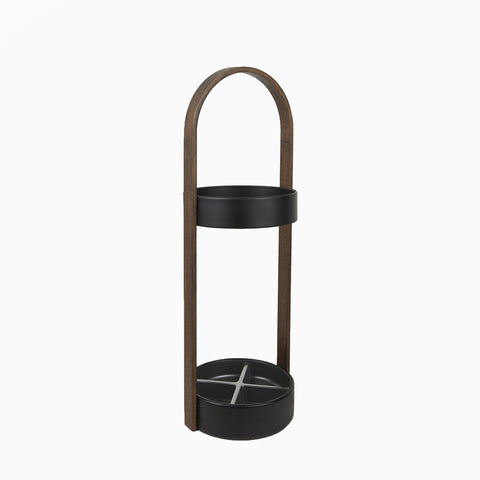 Hub Umbrella Stand (Black/Walnut)