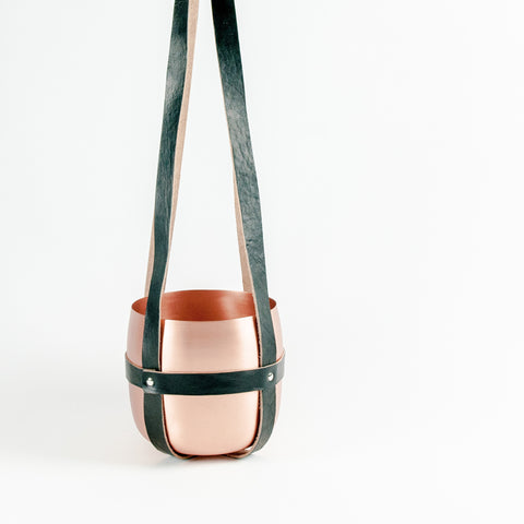 Leather Hanger Black with Copper Pot