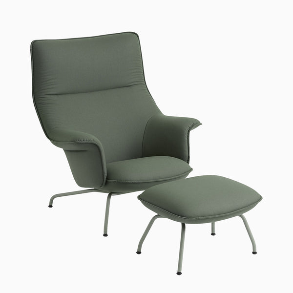 Muuto Doze Lounge Chair with Ottoman Forest Nap 952 Dusty Green Base