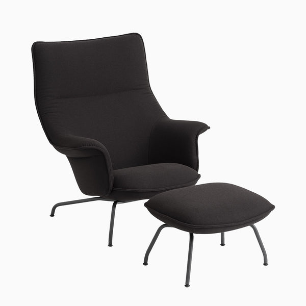 Muuto Doze Lounge Chair Ocean 3 Anthracite Black Base with Ottoman