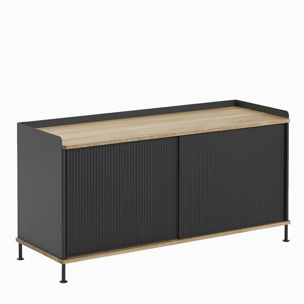 Muuto Enfold Sideboard Low Black With Oak Top Side View