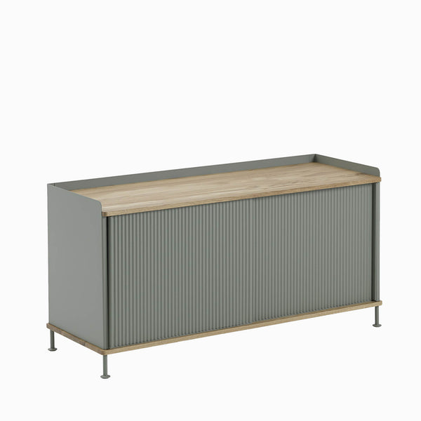 Muuto Enfold Sideboard Low Dusty Green with Oak Top Side View