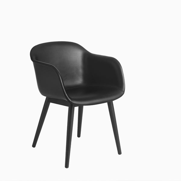 Muuto Fiber Armchair Wood Base Black Leather Black