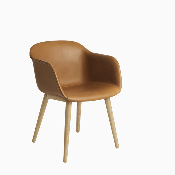 Muuto Fiber Armchair Wood Base Cognac Leather Oak