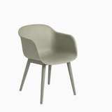 Muuto Fiber Armchair Wood Base Dusty Green