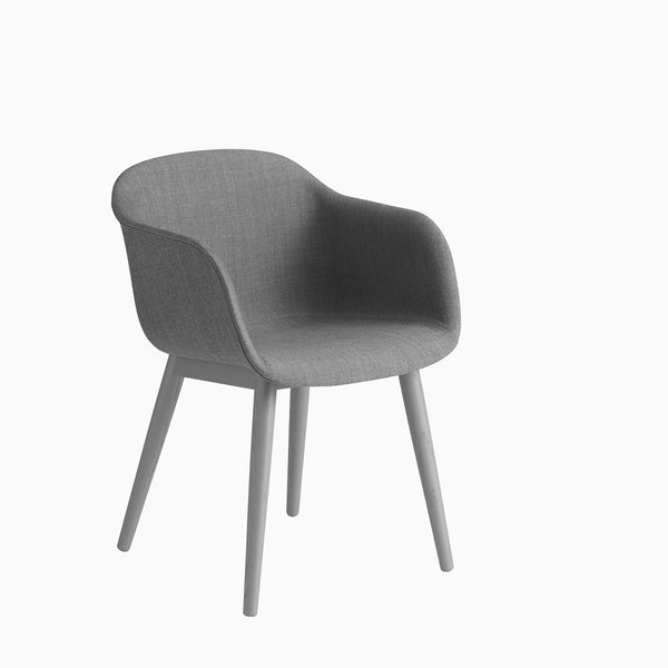 Muuto Fiber Armchair Wood Base Remix 133 Grey