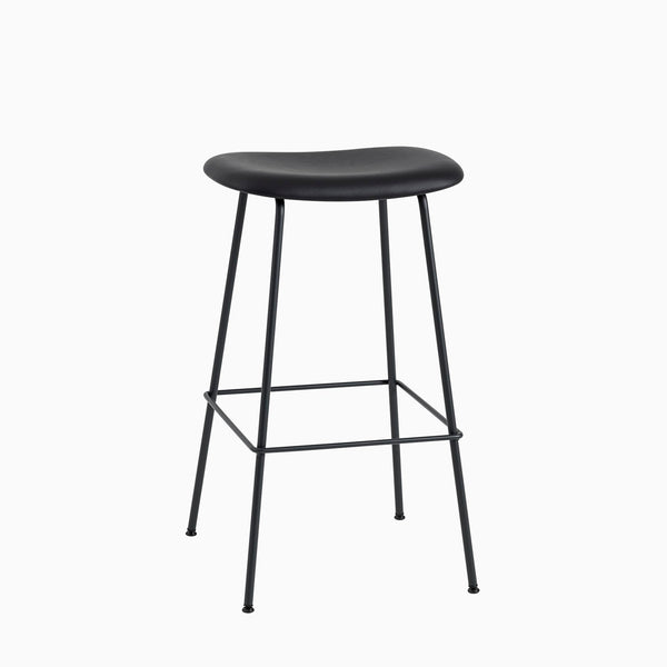 Muuto Fiber Bart Stool Tube Base Black Leather