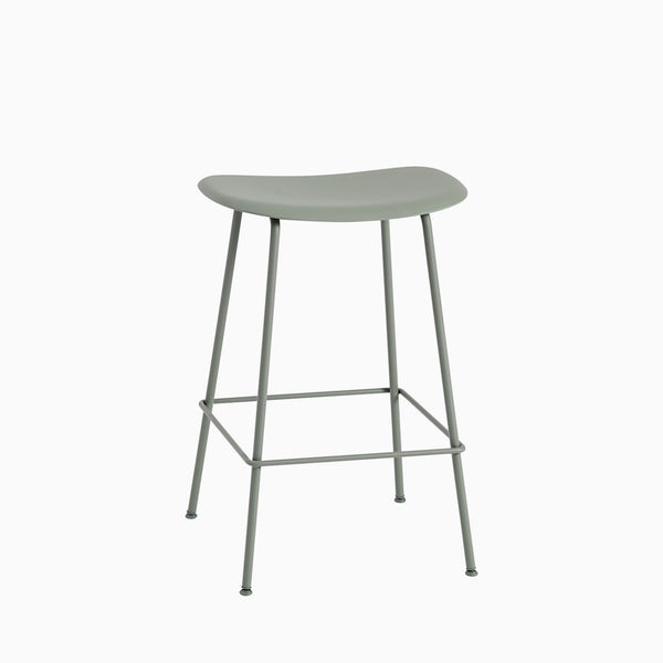Muuto Fiber Bar Stool Tube Base Dusty Green
