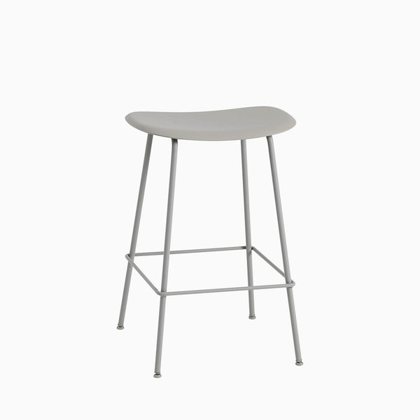 Muuto Fiber Bar Stool Tube Base Grey