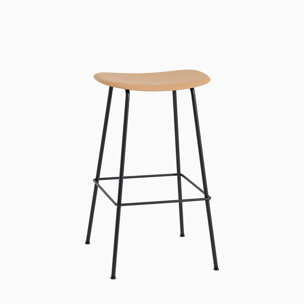 Muuto Fiber Bar Stool Tube Base Ochre Black