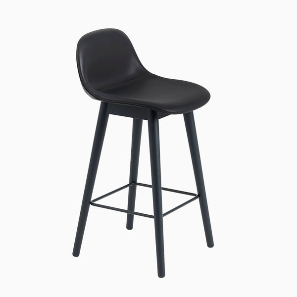 Muuto Fiber Barstool With Backrest Wood Base Black Leather