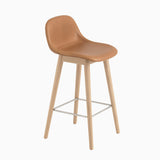 Muuto Fiber Barstool With Backrest Wood Base Cognac Leather