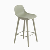 Muuto Fiber Barstool With Backrest Wood Base Dusty Green