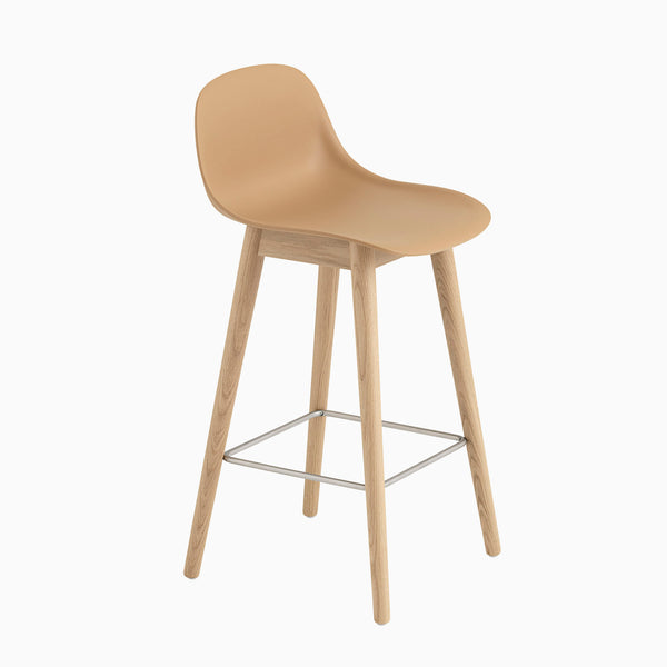 Muuto Fiber Barstool With Backrest Wood Base Ochre