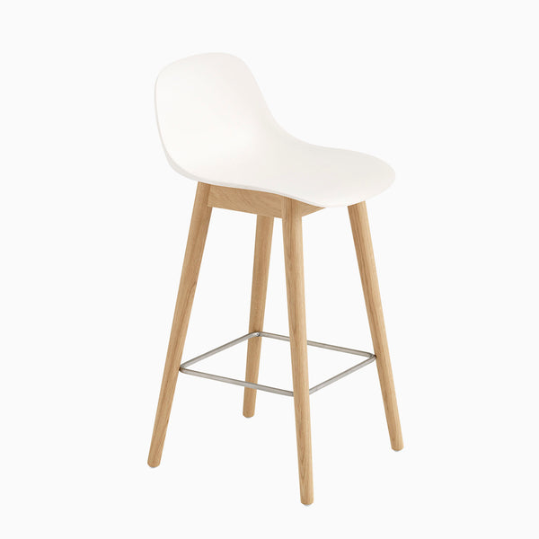 Muuto Fiber Barstool With Backrest Wood Base White