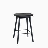 Muuto Fiber Bar Stool Wood Base Black Leather