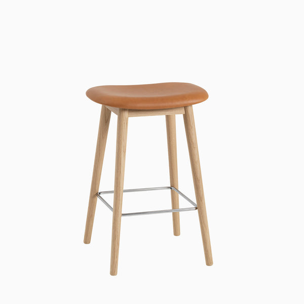 Muuto Fiber Bar Stool Wood Base Cognac Leather