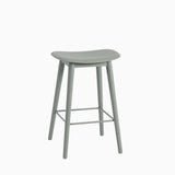 Muuto Fiber Bar Stool Wood Base Dusty Green