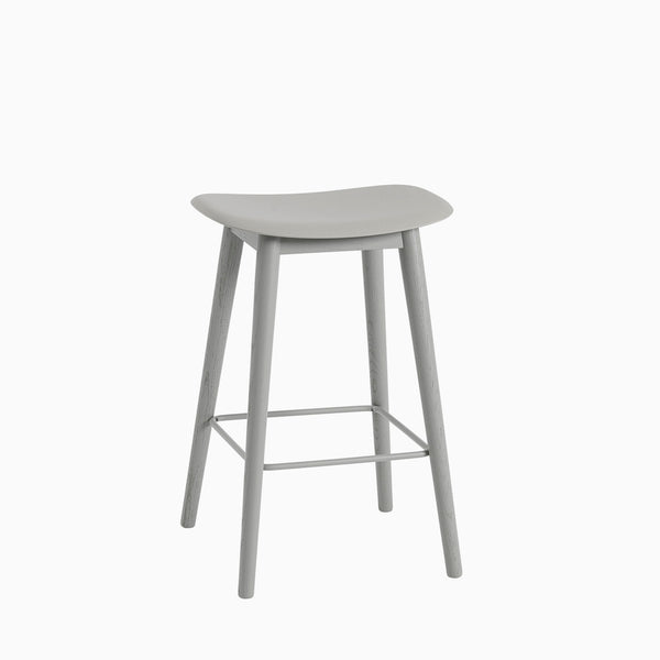 Muuto Fiber Bar Stool Wood Base Grey