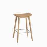 Muuto Fiber Bar Stool Wood Base Ochre