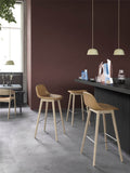 Muuto Fiber Bar Stool with Backrest - Wood Base