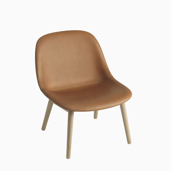 Muuto Fiber Lounge Chair Wood Base Cognac Leather