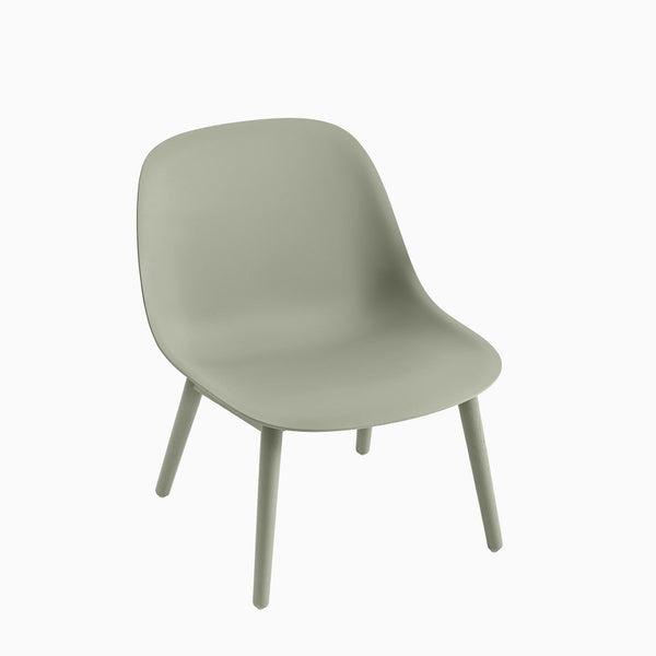 Muuto Fiber Lounge Chair Wood Base Dusty Green