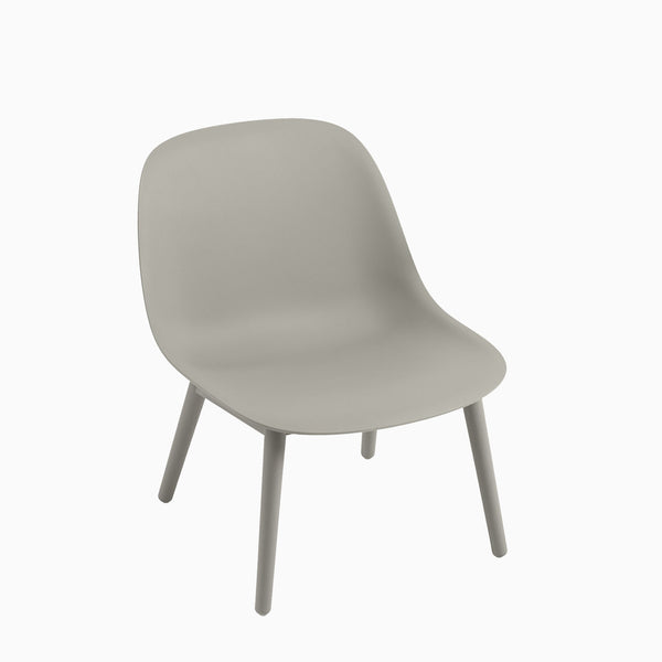 Muuto Fiber Lounge Chair Wood Base Grey