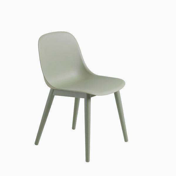 Muuto Fiber Chair Wood Base Dusty Green