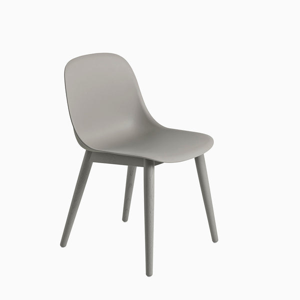 Muuto Fiber Side Chair Wood Base Grey