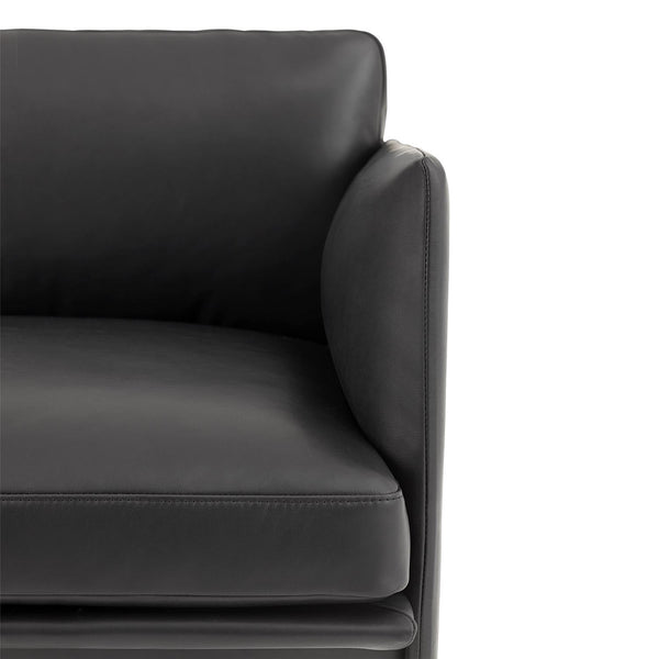 Muuto Outline Chair Black Silk Leather Detail