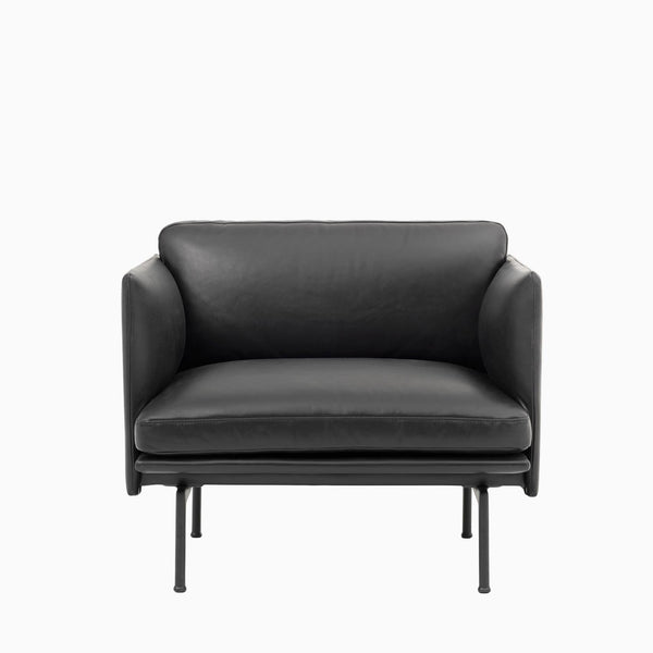 Muuto Outline Chair Black Silk Leather