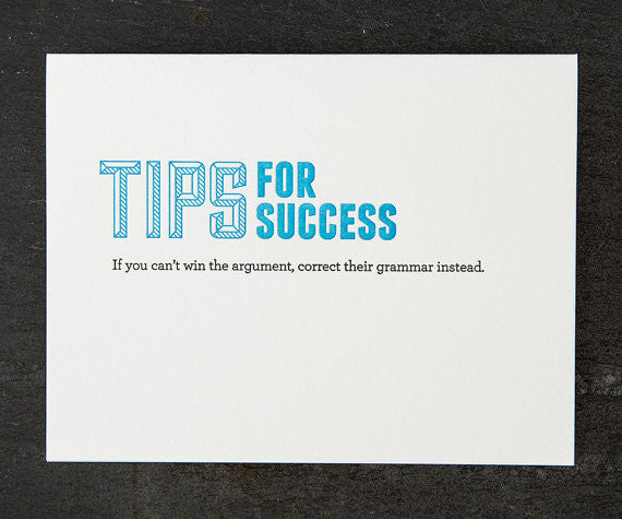 Sapling Press Card - Tips for success (grammar)