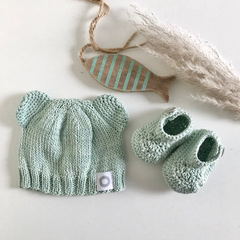 Baby Bear Beanie + Ankle Boots - Pale Sage