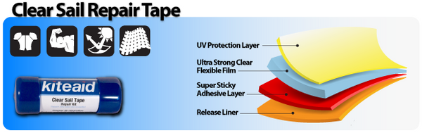 The Clear Sail Tape Repair kit is the best product to repair a damaged kite anywhere. Repair over decals or while traveling with this versatile product.