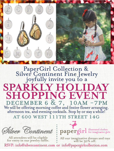 Holiday event with Silver Continent jewelry in New York City Dec 6 & 7 , 10am-7pm