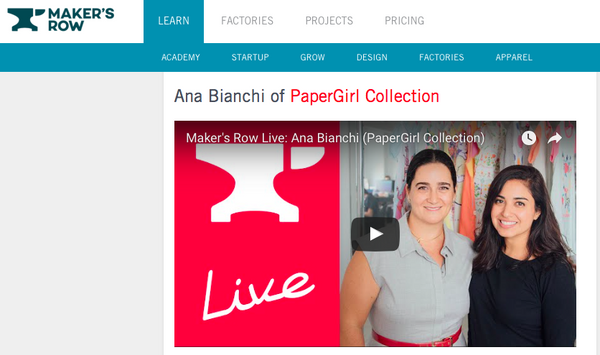 Conversation with Maker's Row about PaperGirl Collection & making things in the USA