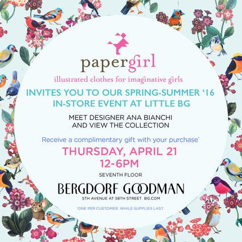 invite to PaperGirl at Bergdorf-Goodman
