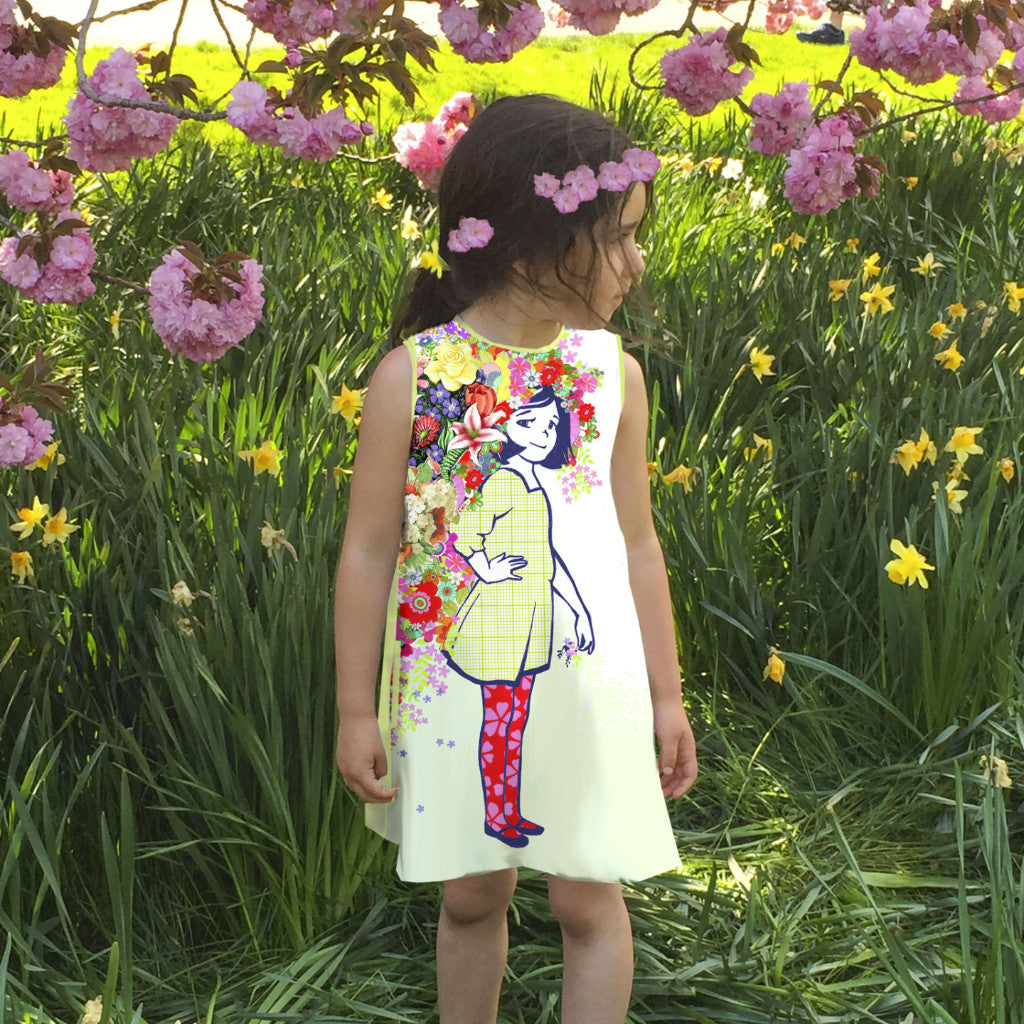 A- Sleeveless Dress: Flowers in her hair