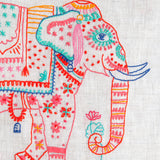 Linen A-Dress: Painted Elephant (India)